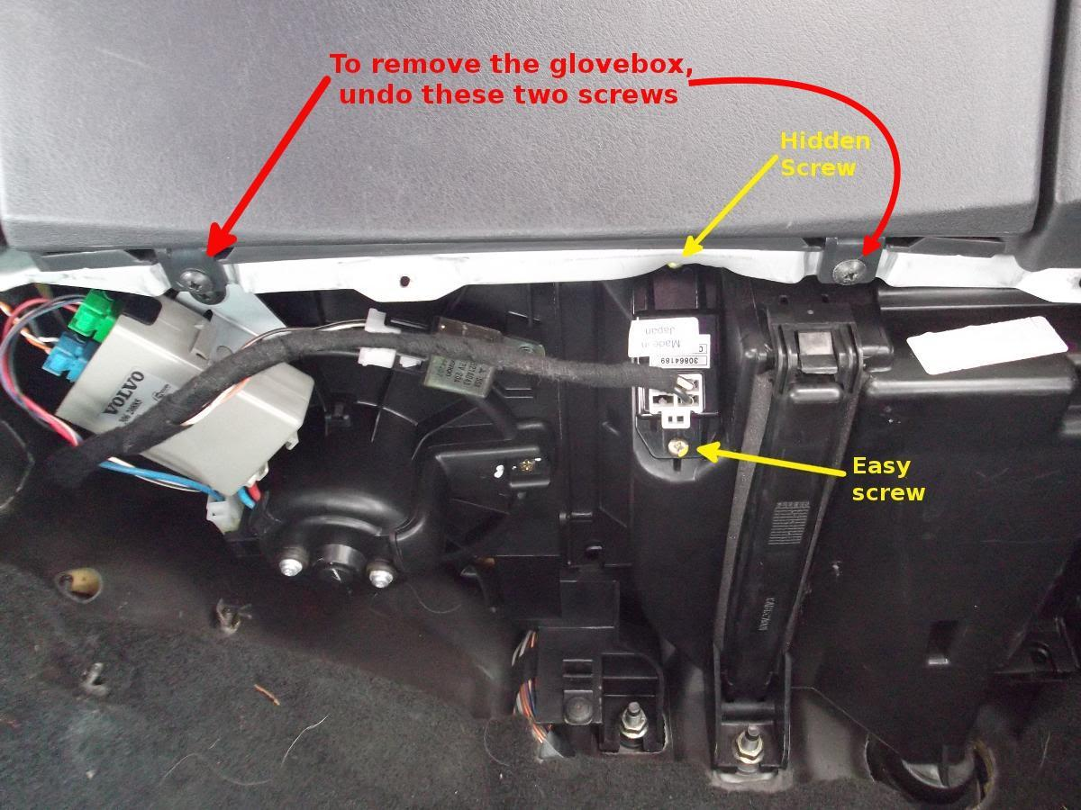 How To Replace The Heater Resistor Volvo S40 And V40 2004 Fuse Diagram Undo Two Screws Marked By Red Arrows Pull Out Glovebox