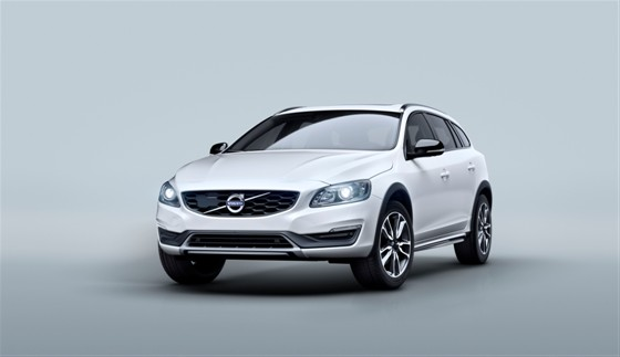 White Volvo V60 Cross Country, in a studio with grey background
